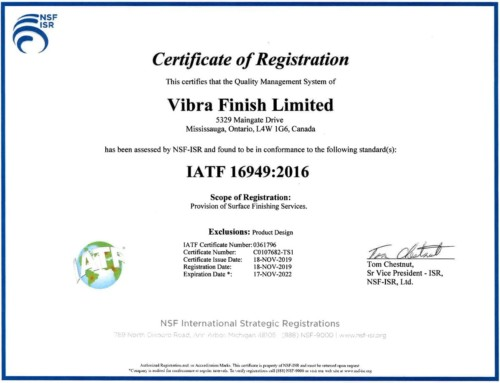 Vibra is now certified IATF 16949:2016