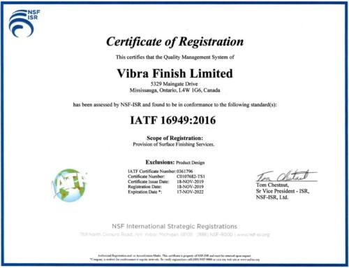 Vibra is now certified IATF 16949:2016