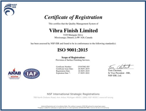 Vibra is now certified ISO 9001:2015