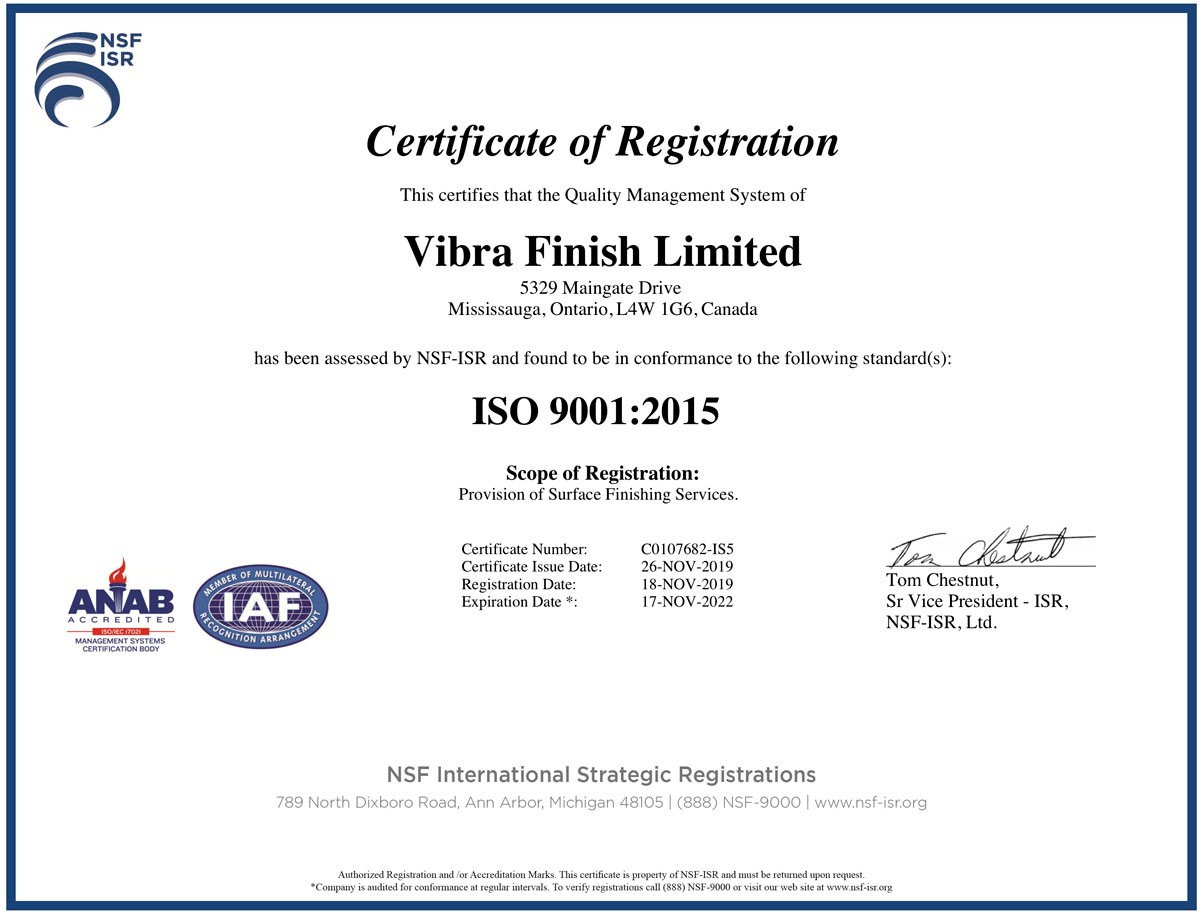 Vibra Finish Ltd Vibra is now certified ISO 9001:2015
