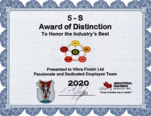 Vibra Has Been Awarded 5-S Award of Distinction