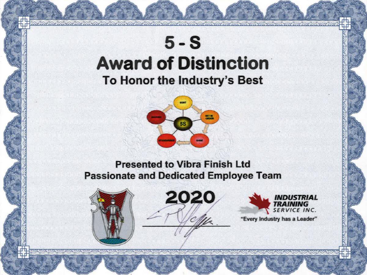 Vibra Finish Ltd Vibra Has Been Awarded 5-S Award of Distinction